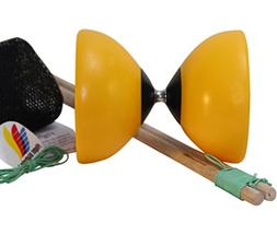 Flight Lander Pro Yellow Chinese Yoyo Diabolo with Wooden St