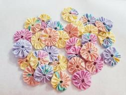 Yo-Yos Hand Made 2 inch size Vintage Fabric Lot of 30 Pastel