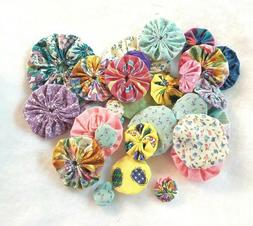 Yo-Yos Hand Made Assorted sizes Vintage Fabric Lot of 30 Spr